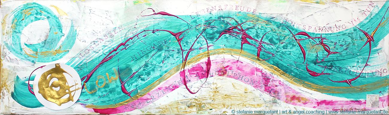 »the FLOW« | Acryl auf Leinwand | 100 x 30 cm | © Stefanie Marquetant