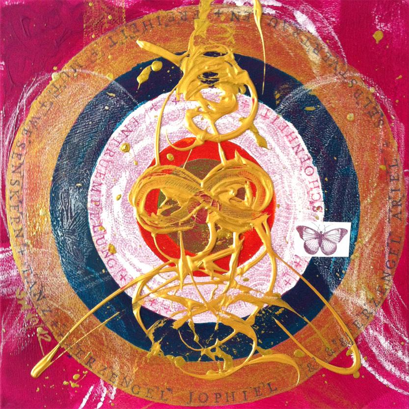 Seelenbild: »Erzengel Jophiel & Erzengel Ariel: Schönheit, Mut, Selbstvertrauen, Freiheit, innerer Wesenskern, Entrümpelung« (60 x 60 cm)