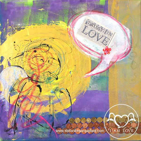 | »TRUST IN LOVE: fülle« | Collage / Acryl auf Leinwand | 50 x 50 cm | Preis auf Anfrage |