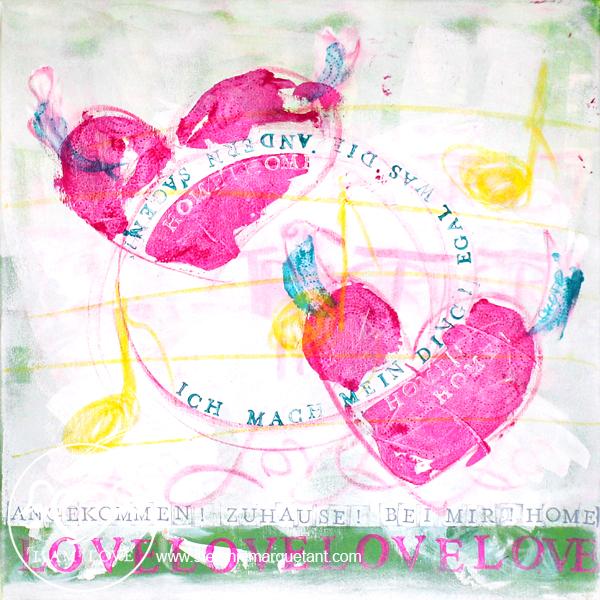 | »TRUST IN LOVE: ankommen« | Collage / Acryl auf Leinwand | 50 x 50 cm | Preis auf Anfrage |