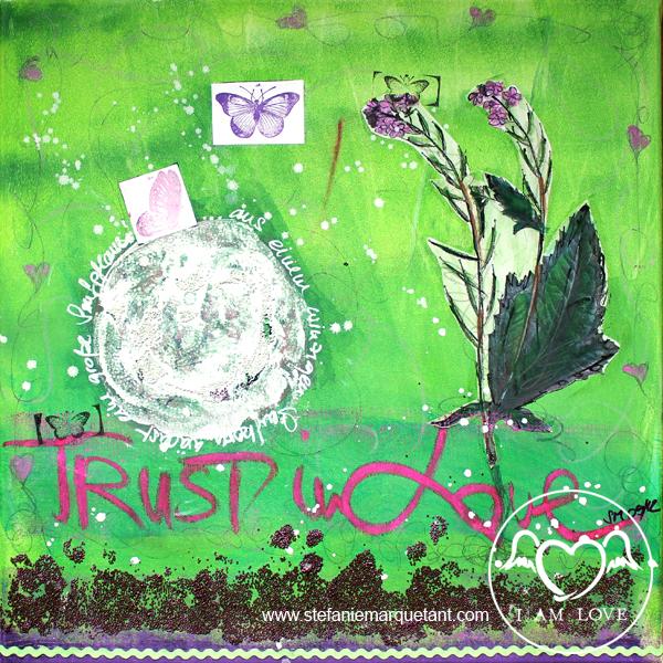 | »TRUST IN LOVE: senfkorn« | Collage / Acryl auf Leinwand | 50 x 50 cm | Preis auf Anfrage |
